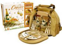 Набор для пикника CW Caprise в подарочной упаковке (на 2 персоны, цвет бежевый, романтический набор с посудой + изотермическое отделение, вес 2кг)