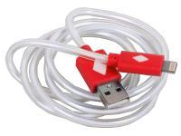 Кабель 3Cott 3C-CLDC-065BR-IP5 Apple Lightning MFI с подсветкой холодного оттенка 1м красный
