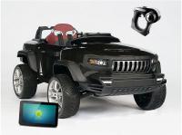 Т870 Электромобиль ДЖИП-внедорожник BROON Henes полноприв со встроен. планшетом Android 24V черный  5129