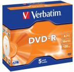 Фото Диск DVD-R Verbatim 16x 4.7Gb Jewel Case 5шт 43519