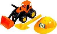 Игровой набор ZEBRATOYS Трактор c каской и лопатой оранжевый