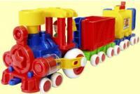 Поезд Форма Ромашка разноцветный с 2 вагонами ДС