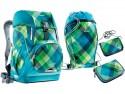 Школьный рюкзак ортопедический Deuter OneTwo + сумка для сменной обуви, пенал и кошелек 20 л синий зеленый 3830015-3216/SET2