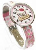 Часы наручные аналоговые Hello Kitty 41213 серый с розовыми цветочками