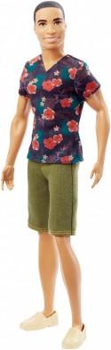 Кукла Mattel Barbie Игра с модой Кен в зеленых шортах и футболке с цветами 30 см DGY66