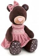 Мягкая игрушка медведь Orange Milk в розовом бархатном платье текстиль коричневый 30 см М5043/30