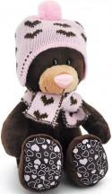 Мягкая игрушка медведь Orange Milk сидячая в вязаной шапке с сердечками текстиль коричневый 20 см М5053/20