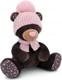 Мягкая игрушка медведь Orange Milk сидячая в розовой шапке плюш коричневый 25 см М5055/25