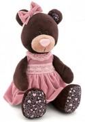 Мягкая игрушка медведь Orange Milk в розовом бархатном платье текстиль коричневый 50 см М5043/50