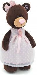 Мягкая игрушка медведь Orange Milk стоячая в платье с брошью искусственный мех коричневый 35 см М5046/35
