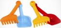 Песочный набор Gowi Лопатка и грабли, 22 см красно-оранжевый 2 предмета 55921
