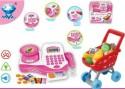 Игровой набор Shantou Gepai Супермаркет с кассой и тележкой, розовый, аксесс., свет, звук 66053