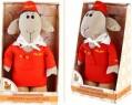Мягкая игрушка овечка Fluffy Family Овечки челОвечки Стюардесса текстиль искусственный мех синтепон бежевый красный 30 см 6927226810296