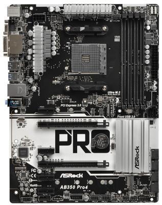 Мат. плата для ПК ASRock AB350 PRO4 Socket AM4 AMD B350 4xDDR4 2xPCI-E 16x 4xPCI-E 1x 4xSATAIII ATX Retail