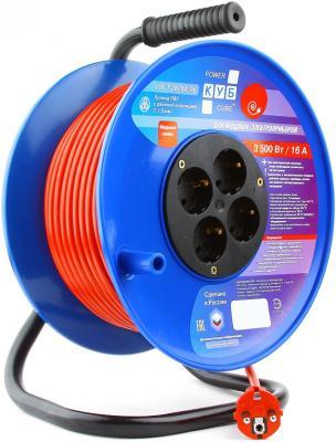 Удлинитель Power Cube PC-BG4-K-50 оранжевый синий 4 розетки 50 м цена и фото