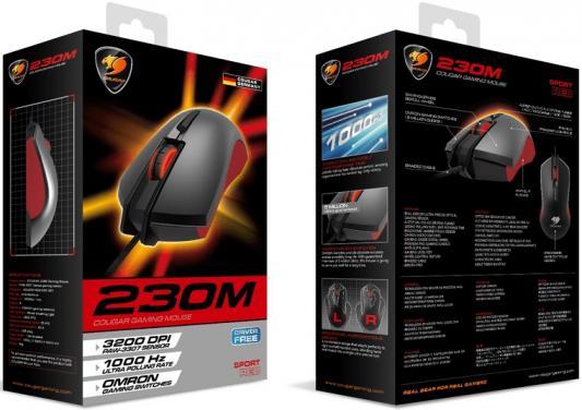 Фото Мышь проводная COUGAR 230M чёрный красный USB. Купить в РФ