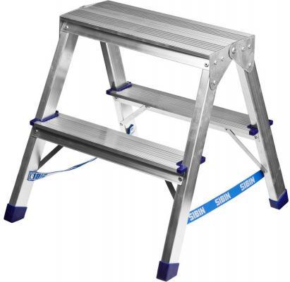 лестница тумба brauberg 2 ступени 43см серый 2 7кг Лестница-стремянка Сибин алюминиевая 2 ступени 38825-02