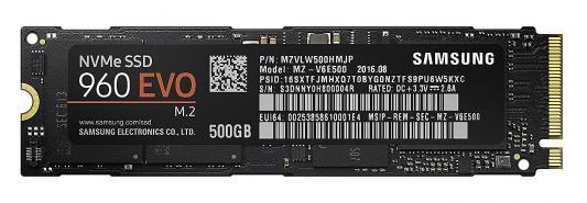 Твердотельный накопитель SSD M.2 500Gb Samsung 960 EVO Read 3200Mb/s Write 1800Mb/s PCI-E MZ-V6E500B