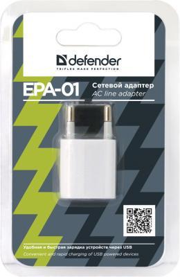 Фото Сетевое зарядное устройство Defender EPA-01 1A 83534 USB 1A белый. Купить в РФ