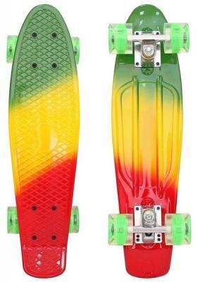 """Скейтборд RT Classic 22"""" 56x15 YQHJ-11 пластик со светящимися колесами цвет зеленый/оранжевый/красный"""