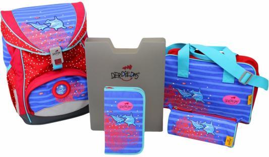 Ранец с наполнением DERDIEDAS ErgoFlex Дельфины 20.5 л красный рисунок 000405-033