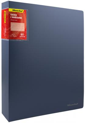 Папка с 80 файлами Silwerhof Perlen А4 1.1мм карман синий металлик 291980-74 папка с метал зажим silwerhof mistress of elements 281010 11 a4 0 7мм