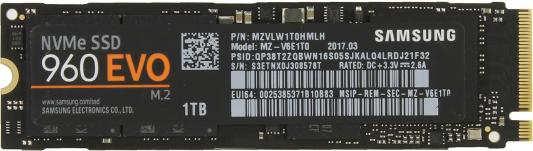 Твердотельный накопитель SSD M.2 1Tb Samsung 960 EVO Read 3200Mb/s Write 1900Mb/s PCI-E MZ-V6E1T0BW твердотельный накопитель ssd m 2 500gb samsung 960 evo read 3200mb s write 1800mb s pci e mz v6e500bw