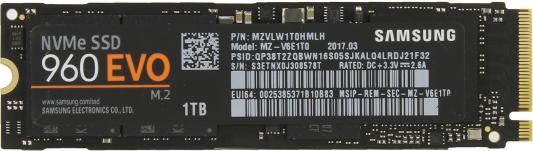 Твердотельный накопитель SSD M.2 1Tb Samsung 960 EVO Read 3200Mb/s Write 1900Mb/s PCI-E MZ-V6E1T0BW samsung samsung 850 pro 1tb sata3 ssd накопители