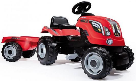 Трактор педальный Smoby XL с прицепом, красный, 142*44*54,5см 710108 трактор с прицепом св ход 36см dickie