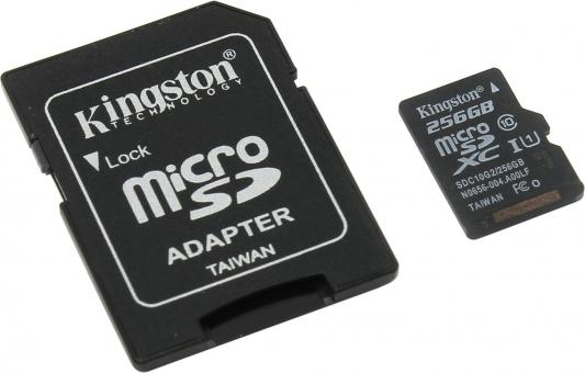 Карта памяти Micro SDXC 256Gb Class 10 Kingston SDC10G2/256GB + адаптер SD видеокарта asus rog strix rx570 o4g gaming rx 570 4гб gddr5 retail