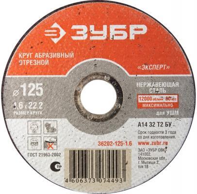 Фото Отрезной круг Зубр абразивный 125х1.6х22.2 по нержавеющей стали 36202-125-1.6_z01. Купить в РФ