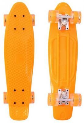 "Скейтборд RT Classic 22"" 56x15 YQHJ-11 пластик со светящимися колесами цвет оранжевый 171203"