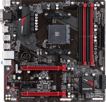 Мат. плата для ПК GigaByte GA-AB350M-GAMING3 Socket AM4 AMD B350 4xDDR4 2xPCI-E 16x 1xPCI-E 1x 6xSATAIII mATX Retail