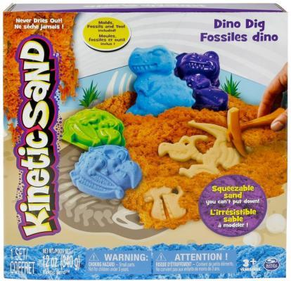 Набор для лепки Kinetic Sand Кинетический песок c формочками, 340 грамм динозавры