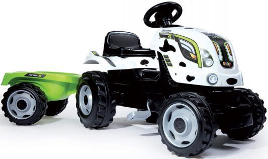 Купить Трактор педальный Smoby XL с прицепом, пятнистый, 142*44*54, 5см 710113, зеленый, белый, Детская педальная машина