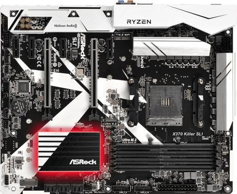 Мат. плата для ПК ASRock X370 Killer SLI Socket AM4 AMD B350 4xDDR4 2xPCI-E 16x 4xPCI-E 1x 6xSATAIII ATX Retail