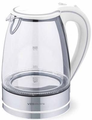 Чайник VES Electric 2005W 2200 Вт белый 1.7 л стекло цена и фото