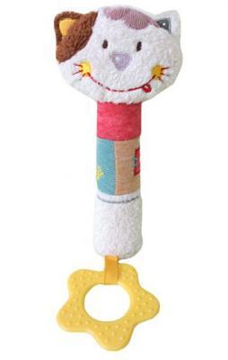 Пищалка-прорезыватель Жирафики Кошечка Мими 939466 разноцветный с рождения пищалка жирафики развивающая игрушка пищалка динозаврик 93920