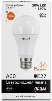 Лампа светодиодная E27 20W 2700K груша матовая 23219 от 123.ru