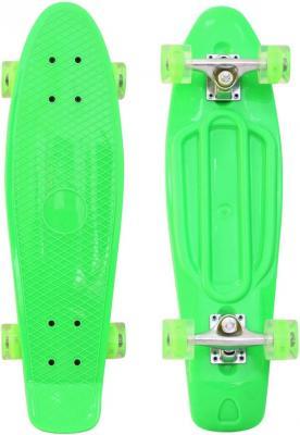 "Скейтборд RT Classic 26"" 68х19 YWHJ-28 пластик со светящимися колесами цвет зелёный 171206"