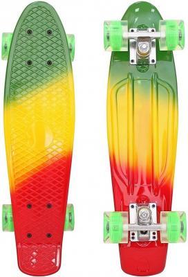 """Скейтборд RT Classic 26"""" 68х19 YWHJ-28 пластик со светящимися колесами цвет зеленый/оранжевый/красный 171208"""