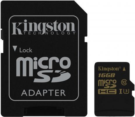 Карта памяти Micro SDHC 16GB Class 10 Kingston SDCG/16GB + адаптер SD от 123.ru