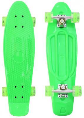 "Скейтборд RT Classic 22"" 56x15 YQHJ-11 пластик со светящимися колесами цвет зеленый 146314"