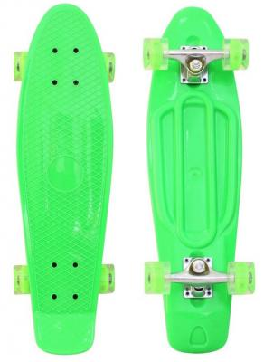 "Скейтборд RT Classic 22"" 56x15 YQHJ-11 пластик со светящимися колесами цвет зеленый 171202"