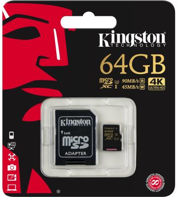 Карта памяти Micro SDXC 64GB Class 10 Kingston SDCG/64GB + адаптер SD sdxc kingston 64gb class10 g2 video sd10vg2 64gb