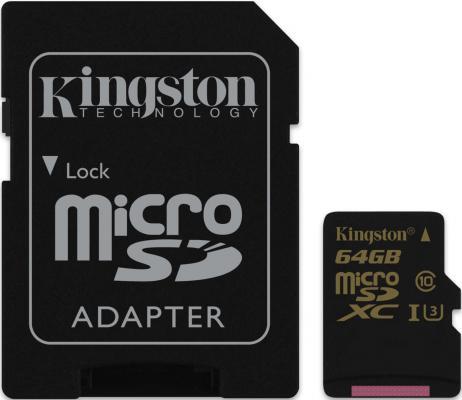Карта памяти Micro SDXC 64GB Class 10 Kingston SDCG/64GB + адаптер SD от 123.ru