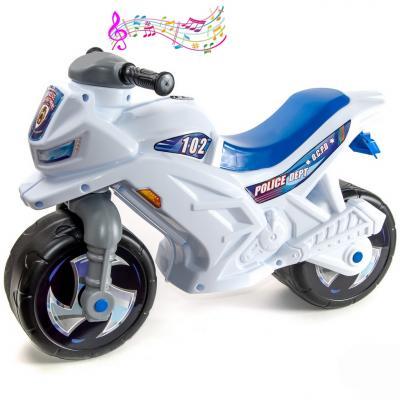 """Каталка-мотоцикл RT Racer RZ 1 белый """"Полиция с музыкой"""" ОР501в3"""