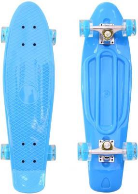 "Скейтборд RT Classic 22"" 56x15 YQHJ-11 пластик со светящимися колесами цвет голубой 171201"