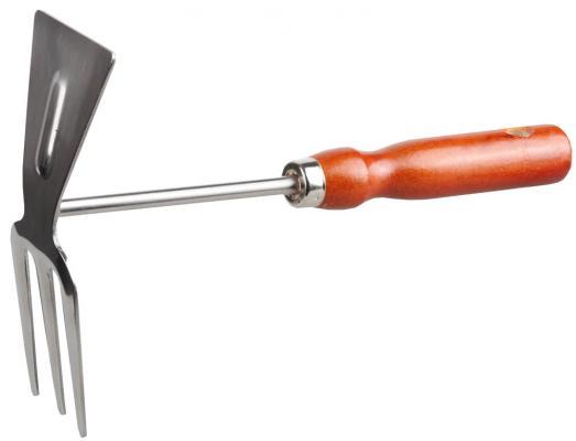Мотыжка Grinda прямое лезвие из нержавеющей стали с деревянной ручкой 3 зубца 250мм 8-421135_z01 недорого