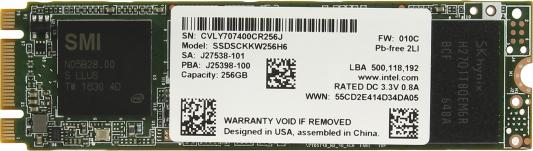 Твердотельный накопитель SSD M.2 256Gb Intel 540s Series Read 560Mb/s Write 480Mb/s SATAIII SSDSCKKW256H6X1 950892 внутренний ssd накопитель 120gb intel ssdsc2kw120h6x1 sata3 2 5 540 series